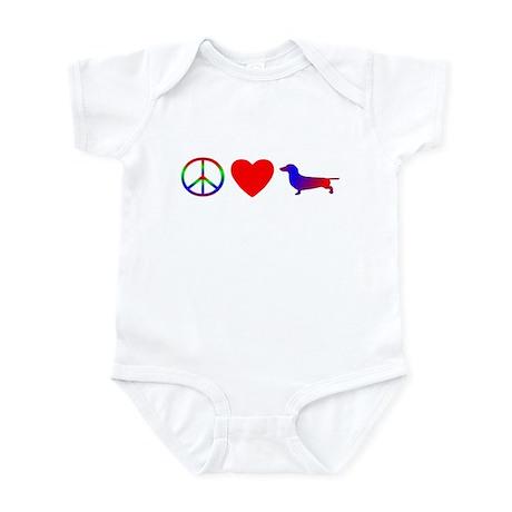 Peace, Love, Dachshund Baby Bodysuit