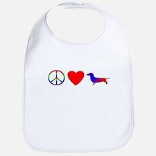 Peace, Love, Dachshund Bib