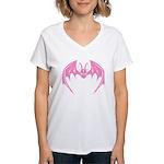 Pink Bat Women's V-Neck T-Shirt