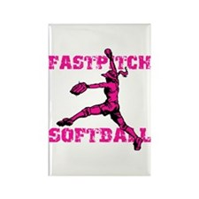 Distressed Fastpitch Rectangle Magnet