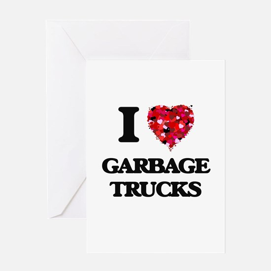 I love Garbage Trucks Greeting Cards