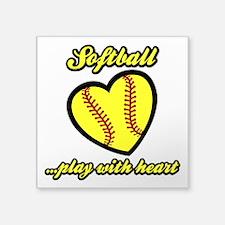"PLAY w HEART Square Sticker 3"" x 3"""