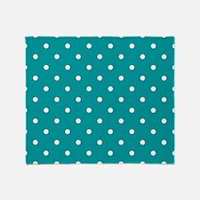 Teal & White Polka Dots Throw Blanket