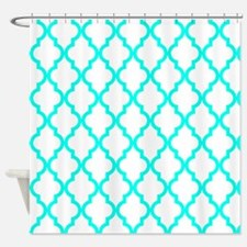 Blue, Turquoise: Quatrefoil Morocca Shower Curtain