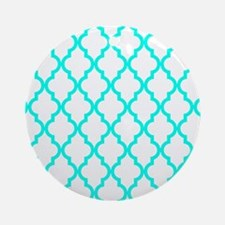 Turquoise Moroccan Pattern (Inver Ornament (Round)