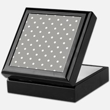 Grey, Fog: Polka Dots Pattern (Small) Keepsake Box