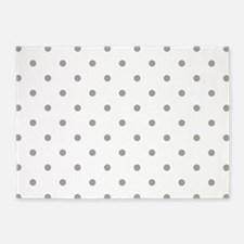 Grey, Fog: Polka Dots Pattern (Smal 5'x7'Area Rug