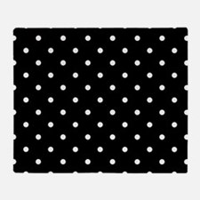 Black: Polka Dots Pattern (Small) Throw Blanket