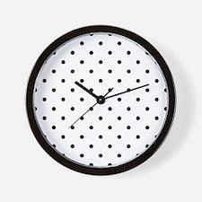 Black: Polka Dots Pattern (Small) Wall Clock