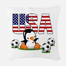 Usa Soccer Penguin Woven Throw Pillow