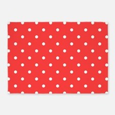 Coral Pink & White Polka Dots 5'x7'Area Rug