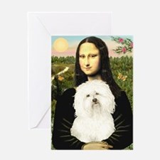 Mona and her Bolognese Greeting Card