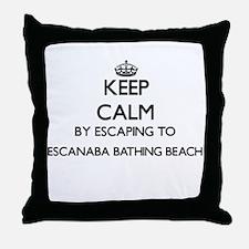 Keep calm by escaping to Escanaba Bat Throw Pillow