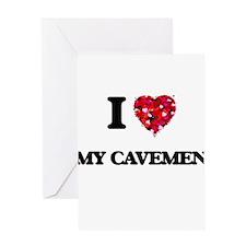 I love My Cavemen Greeting Cards