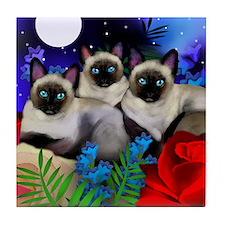 SIAMESE CATS MOON GARDEN Tile Coaster