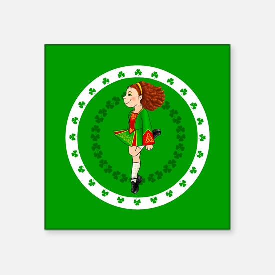 "Irish Dancing Square Sticker 3"" X 3"""