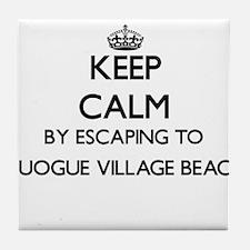 Keep calm by escaping to Quogue Villa Tile Coaster