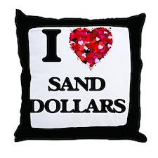 I love Sand Dollars Throw Pillow
