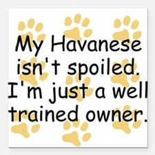 """Well Trained Havanese Owner Square Car Magnet 3"""" x"""