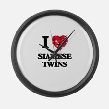 I love Siamese Twins Large Wall Clock