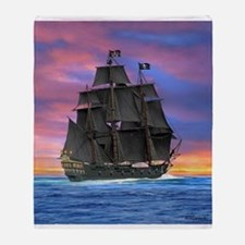 Black Sails of the Caribbean Throw Blanket