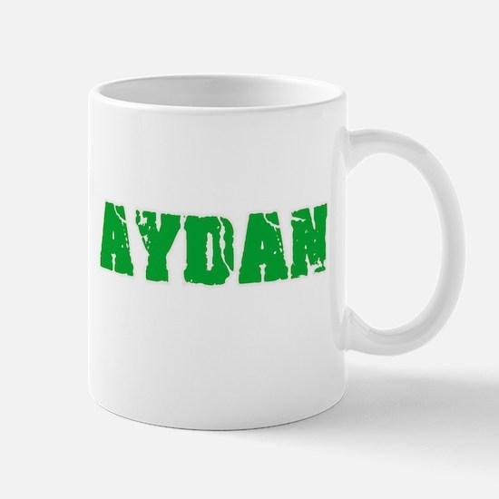 Aydan Name Weathered Green Design Mugs
