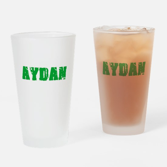 Aydan Name Weathered Green Design Drinking Glass