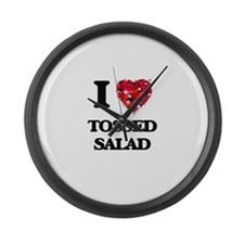 I love Tossed Salad Large Wall Clock