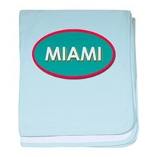 Miami Blue Yellow Teal baby blanket
