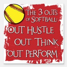 "THE THREE OUTS Square Car Magnet 3"" x 3"""