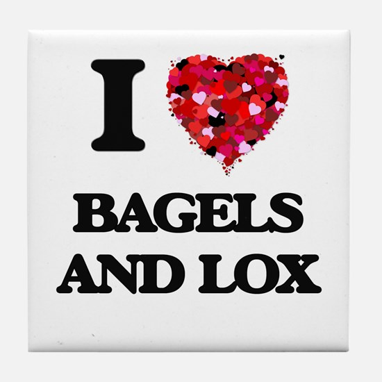 I love Bagels And Lox Tile Coaster