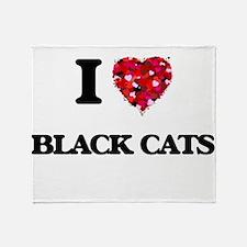 I love Black Cats Throw Blanket
