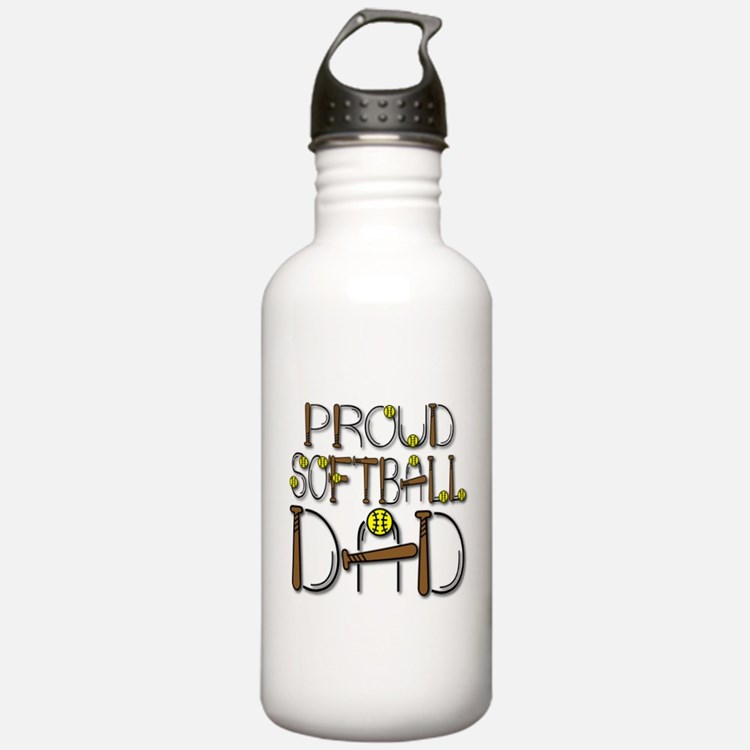 Proud Softball Dad Water Bottle