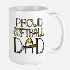 Proud Softball Dad Large Mug