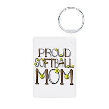 Softball Mom Aluminum Keychain