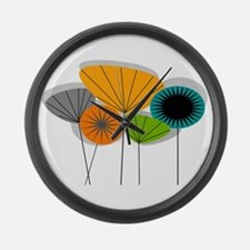 Mid-Century Modern Floral Large Wall Clock
