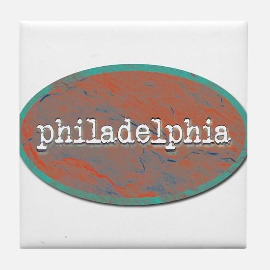 Philadelphia rustic teal Tile Coaster