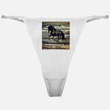 barn wood black horse Classic Thong