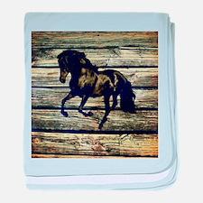 barn wood black horse baby blanket