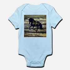 barn wood black horse Body Suit