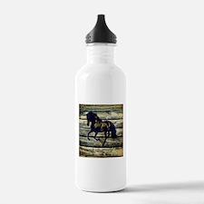 barn wood black horse Water Bottle