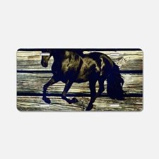 barn wood black horse Aluminum License Plate