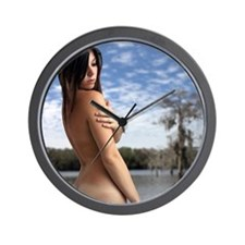 Beautiful Young Nude Brunette Outdoors Wall Clock