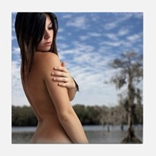 Beautiful Young Nude Brunette Outdoor Tile Coaster