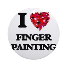 I love Finger Painting Ornament (Round)