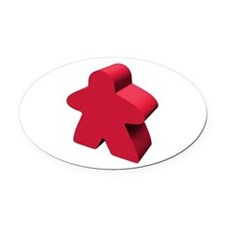 Red Meeple Oval Car Magnet