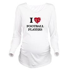 I love Football Play Long Sleeve Maternity T-Shirt