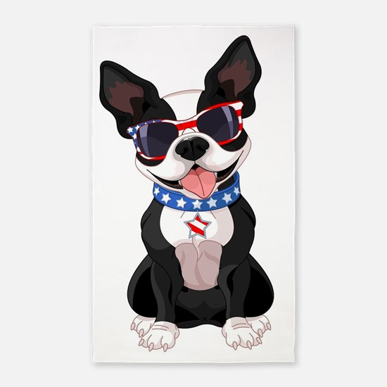 Patriotic Boston Terrier Area Rug