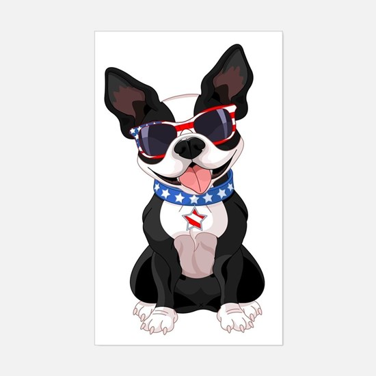 Patriotic Boston Terrier Sticker (Rectangle)