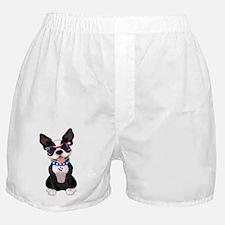 Patriotic Boston Terrier Boxer Shorts